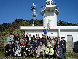六島灯台で記念写真