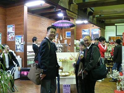 当夜祭の時、吉備国際大学のみなさんが観光物産館へ